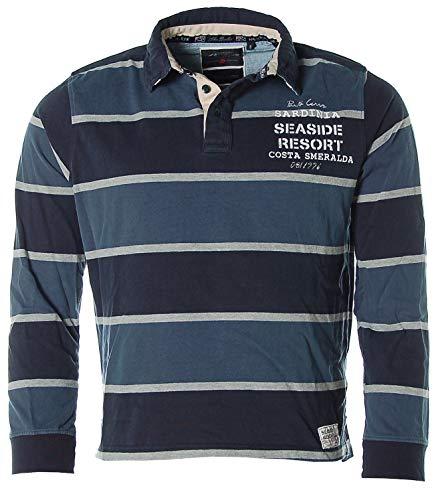 John Bradley Herren Langarm Shirt Poloshirt Polokragen Streifen -Sardinia- (Navy, S)