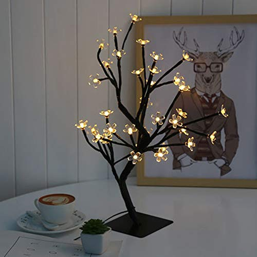 YZYZYZ Lámpara de mesa de color de luz romántica árbol de melocotón lámpara de mesa lámpara de niña habitación decoración de la lámpara LED interior de regalo de la lámpara de altura 40 (cm)