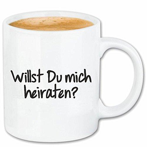 Reifen-Markt Kaffeetasse WILLST DU Mich HEIRATEN - JGA - Hochzeit - HEIRATEN - Wedding Keramik 330 ml in Weiß