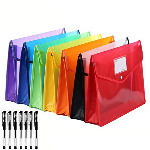 Abgream 7 Pack File Folder - Expandable Poly Envelopes Plastic Document Folder Button Closure Waterproof File Pouch with 7pcs Black Gel Ink Pens for School Office Supplies (Assorted Colors)