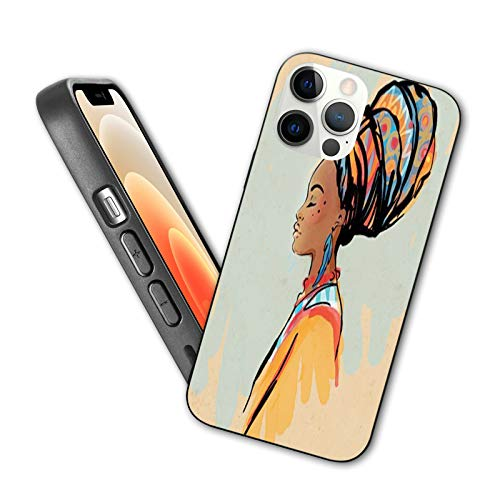 African Designed for iPhone 12 Pro Max Case,Watercolor Profile Portrait of Native Woman with Hairdo and Earrings,Silicone Shockproof Phone Case with Anti-Scratch Lining, 6.7 inch Pastel Brown