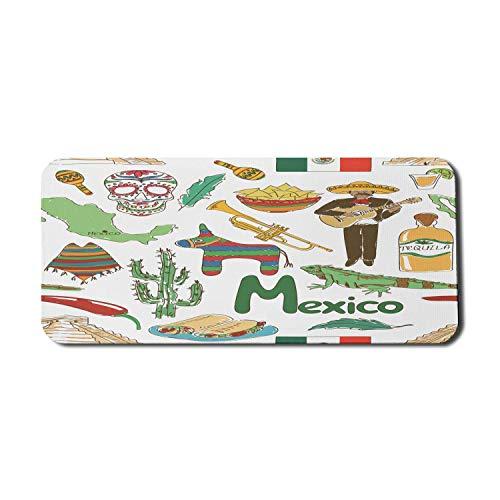 Mexikanische Computer Mauspad, lustige bunte Skizze Mexiko Chili Pyramide Nachos Kaktus Musik Poncho Muster, Rechteck rutschfeste Gummi Mousepad X-Large Multicolor