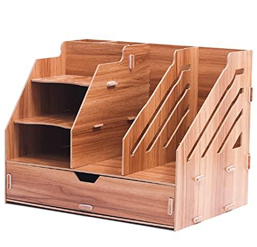 YUEMA Organizador de Escritorio Papelería de Madera, Caja de almacenamiento para Oficina, para Documentos , Bolígrafos, Libros, Cuadernos y Archivos (Marrón)