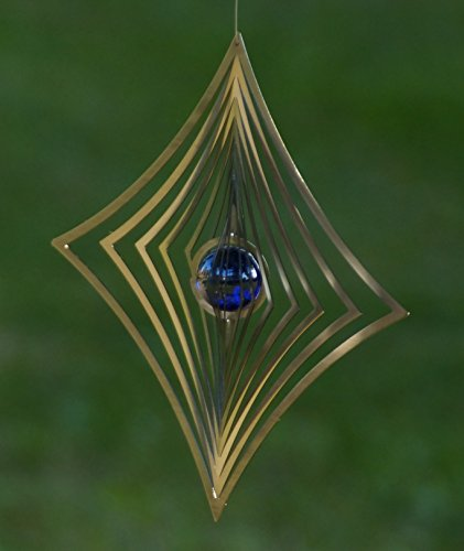 A2004 – steel4you hochwertiges 3D Windspiel aus Edelstahl mit Glasperle – Raute 19cm x 19cm – made in Germany - 5
