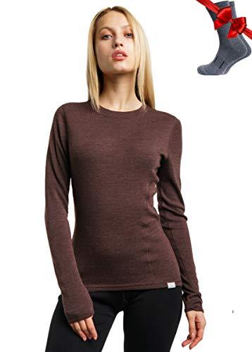 Merino.tech Merino Wool Base Layer Women 100% Merino Wool Midweight Long Sleeve Thermal Shirts + Wool Socks (Medium, Chocolate 250)