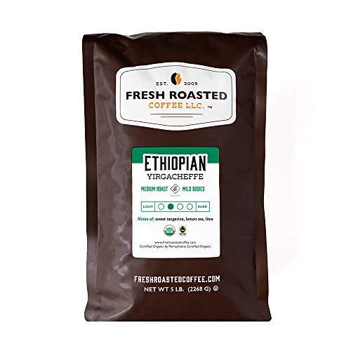 Fresh Roasted Coffee, Organic Ethiopian Yirgacheffe Medium Roast, Fair Trade Kosher, Whole Bean, 5 Pound