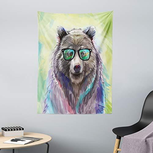 ABAKUHAUS Tier Wandteppich & Tagesdecke, Colored Wild Bear Art, aus Weiches Mikrofaser Stoff Wand Dekoration Für Schlafzimmer, 110 x 150 cm, Lime Green Lila