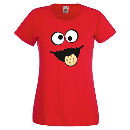 Keks Monster Damen T-Shirt Gruppen Kostüm Karneval Fasching Verkleidung Party JGA Red M