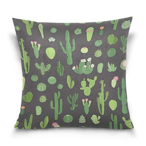 AEMAPE Doble Cojines Fundas 18' Vintage Cactus Flor Verano Tropical Funda Almohada Suave Piel
