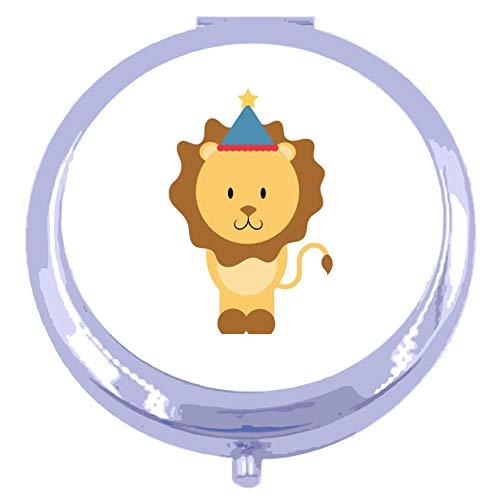 Circus Lion [CIRCJS] compact pocket mirror - silver round circle shape
