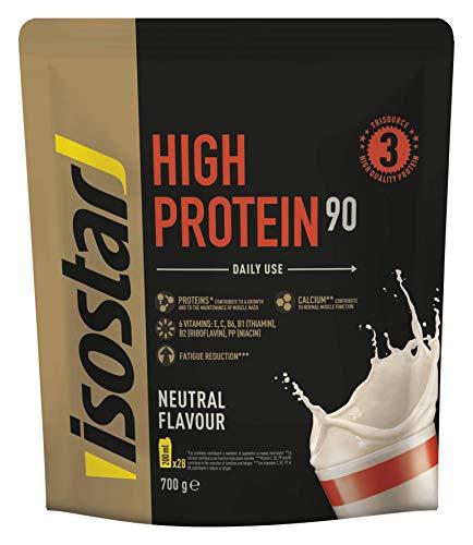 Isostar High Protein 90 - hochwertiges Proteinpulver - Eiweißpulver mit Aminosäuren und Calcium zum effektiven Muskelaufbau - Neutral, 700 g