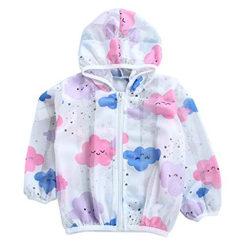 sunnymi - Chaqueta para bebé de 1 a 7 años, para verano, protección solar, chaquetas con capucha y cremallera rosa 2-3 Años