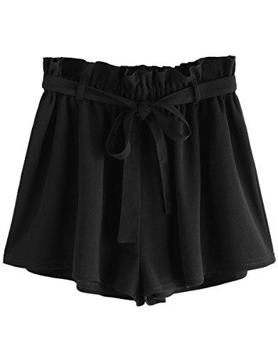 Romwe Women's Casual Elastic Waist Summer Shorts Jersey Walking Shorts Black M