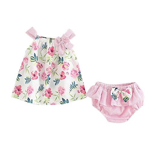 Counjunto de Ropa bebé niña Verano 2pcs Bebés niñas impresión Floral Tops Chaleco + Pantalones Cortos a Rayas Trajes Ropa Conjunto (Rosado, Tamaño:0-6Mes)