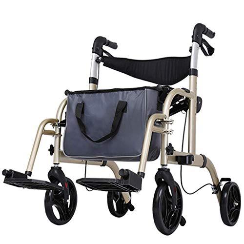 Walker, ligero, plegable, estable y duradero, ajustable en altura con freno de bloqueo, asiento, carrito de compras para personas mayores