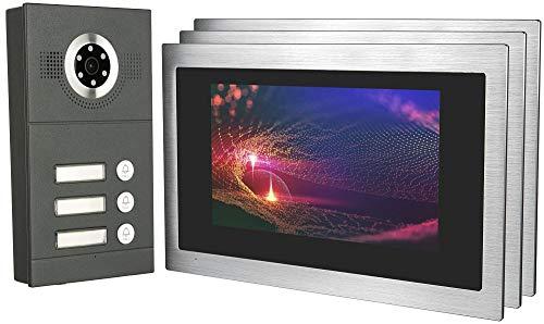 GVS IP Video Door Intercom, Surface-Mounted Door Station IP65, 3x 10 Inch Monitor, Mobile Phone App, HD Camera 115°, Door Opener Fact, 32GB Photo/Video Memory, PoE Switch, 3 Family House Set, AVS3100A