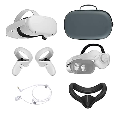 2021 Oculus Quest 2 All-In-One VR Headset 256GB, Touch Controllers, 1832x1920 up to 90 Hz Refresh Rate LCD, 3D Audio, Mytrix Head Strap, Carrying Case, Earphone, Silicone Face Cover