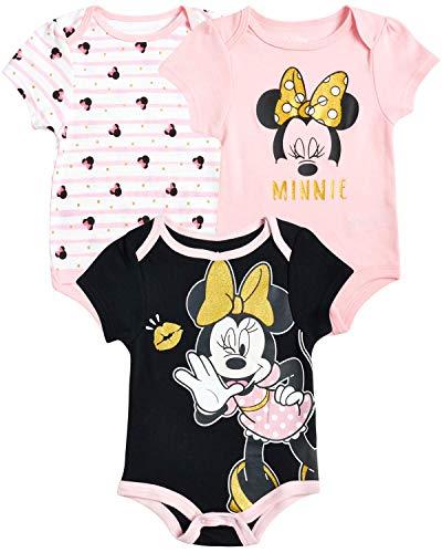 Disney Baby Girls 3 Pack Short Sleeve Bodysuits – Minnie Mouse, Ariel, Nemo, Pooh (Newborn Infant), Size 6-9 Months, Minnie Black Pink