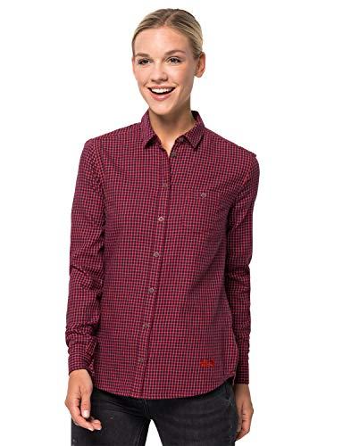 Jack Wolfskin Damen Alin Shirt Bluse, Ruby red Check, XXL