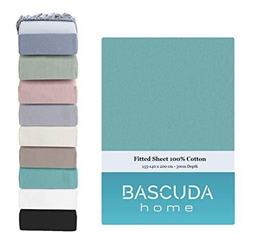 Bascuda Drap Housse 140x200 x 30 cm - 100% Coton Souple Jersey - Respirant Drap Housses pour Matelas - ( Bleu Sarcelle )