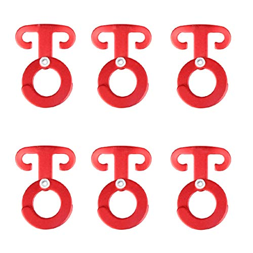 TRIWONDER Ultralight Aluminum T-Ring Hooks, Paracord Tension Camp Hooks Guyline Cord Adjuster for Tent Camping Hiking Backpacking Outdoor Activity (Red - 6 Pack)