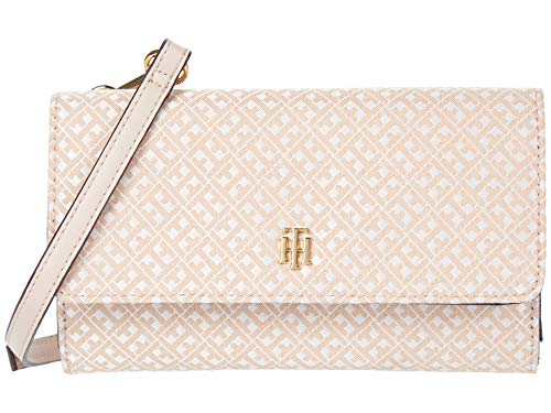 Tommy Hilfiger Wallet on A String Mini Signature Jacquard Blush Tonal One Size