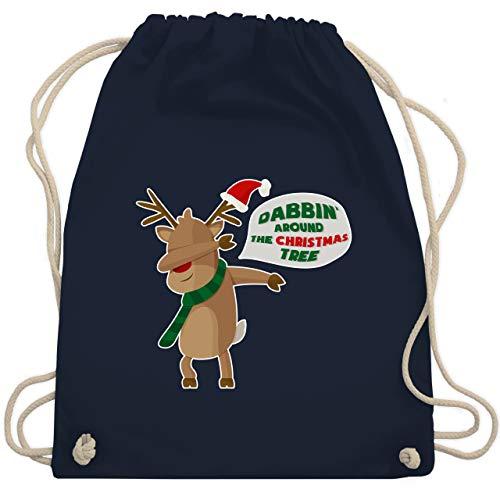 Weihnachten & Silvester - Dab Rentier Weihnachten - Unisize - Navy Blau - turnbeutel weihnachten - WM110 - Turnbeutel und Stoffbeutel aus Baumwolle