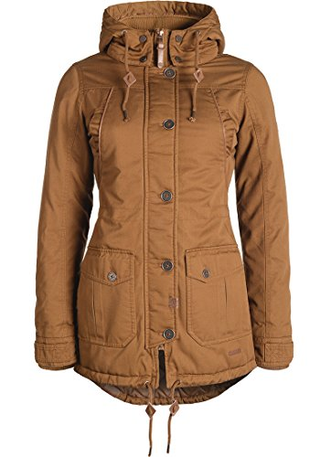 DESIRES Annabelle Damen Übergangsparka Parka Übergangsjacke Lange Jacke mit Kapuze, Größe:L, Farbe:Cinnamon (5056)