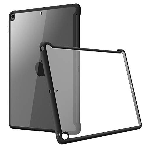 i-Blason Case for iPad 7th Generation 10.2 2019, Compatible with Official Smart Cover and Smart Keyboard, Clear Slim Hybrid Case Cover for New iPad 10.2 (2019 Release) (Black)