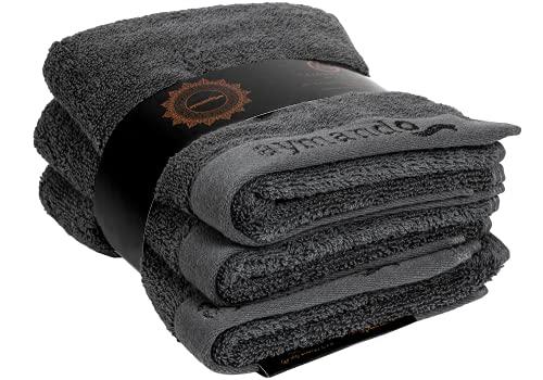 Aymando Scheich Collection Giza 86 - Juego de 3 toallas de invitados, 30 x 50 cm, acabado de lujo, 100% algodón egipcio, 600 g/m², color gris