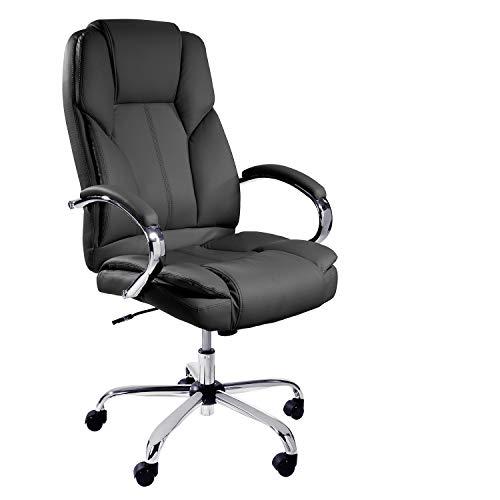 TPFLiving XXL Bürostuhl Dallas Premium, ergonomisch gepolsterter Schreibtischstuhl mit abgebremsten Rollen, Moderner Chefsessel aus Kunstleder, Belastbar bis 215kg, Schwarz