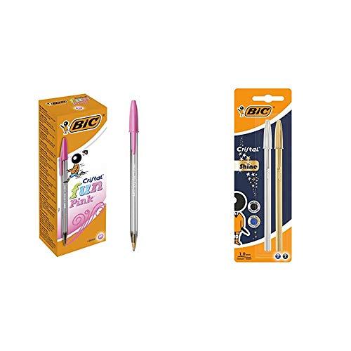 BIC Cristal Fun bolígrafos Punta Ancha (1,6 mm) – Rosa, Caja de 20 unidades + Celebrate Cristal Shine bolígrafos punta media (1,0 mm) - Cuerpo y Surtidos, Blíster de 2 unidades