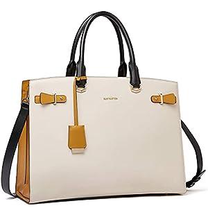 BOSTANTEN Briefcase for Women 15.6 Inch Leather Laptop Briefcase Shoulder Work Tote Bag Purse Beige