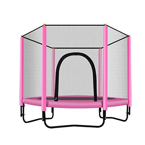 Jiamuxiangsi Children's trampoline Trampolines Round Trampoline with Enclosure Net– Indoor or Outdoor Trampoline for Kids,Home/Office Cardio Trainer Indoor trampolines (Color : Pink)