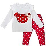 IEFIEL Conjuntos de Top y Pantalones Luranes para Bebe Niña Camiseta Mangas Largas+Leggings para Niña Bebé Pijamas Cómodas de Algodón Ropa de Dormir Rojo A 3 años