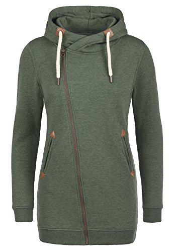 DESIRES Vicky Zip Hood Long Damen Lange Sweatjacke Kapuzenjacke Sweatshirtjacke Mit Kapuze Und Fleece-Innenseite, Größe:S, Farbe:Climb Ivy (8785)