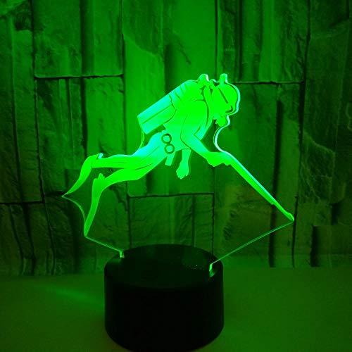 Kreatives Geschenk Taucher 3D Nachtlicht Schlafzimmer Nachtlicht Persönlichkeit Dekoration Licht Mit Fernbedienung Kind Geschenk