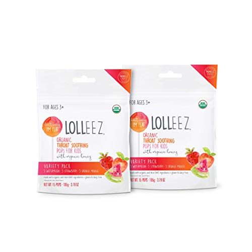 Lolleez Organic Sore Throat Soothing Pops with Honey for Kids, Variety Pack - Watermelon, Strawberry, Orange Mango - 15ct (Pack of 2)