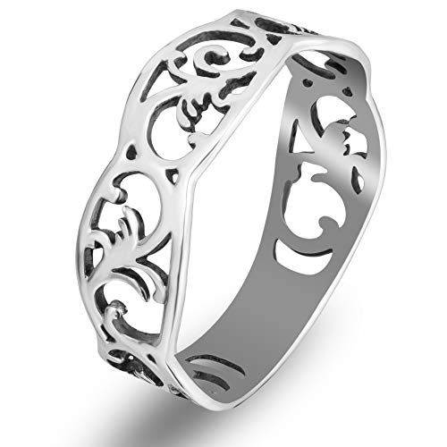 925 Sterling Silver Filigree Celtic Band Ring - Norwegian Rosemaling Floral Pattern - Thumb Pinky Rings for Women - Purity Ring for Teen Girls - Norse Nordic Jewelry - Handmade (9)