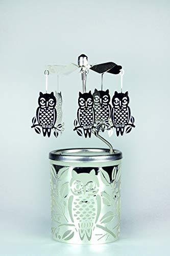 Kerzenfarm Hahn Glaskarussell Teelichthalter Windlicht 84367 Motiv Eule Größe 16 x 6 x 6 cm Glaskarussel, Glas, Silber, 6 cm