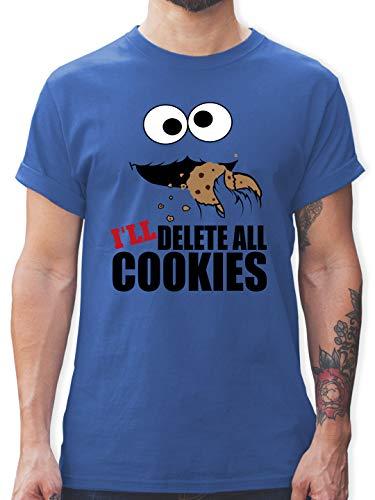 Nerds & Geeks - I Will Delete All Cookies Keks-Monster - L - Royalblau - lustige Tshirts - L190 - Tshirt Herren und Männer T-Shirts