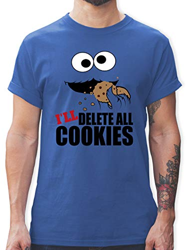 Nerds & Geeks - I Will Delete All Cookies Keks-Monster - L - Royalblau - Monster Tshirt Herren - L190 - Tshirt Herren und Männer T-Shirts