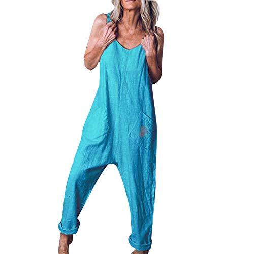 Vectry Mono Mujer Fiesta Elegante Bodysuit Mujer Pantalones De Talla Grande para Mujer Jumpsuits Mujer Fiesta Mono Estampado Mujer Mono Mujer Azul