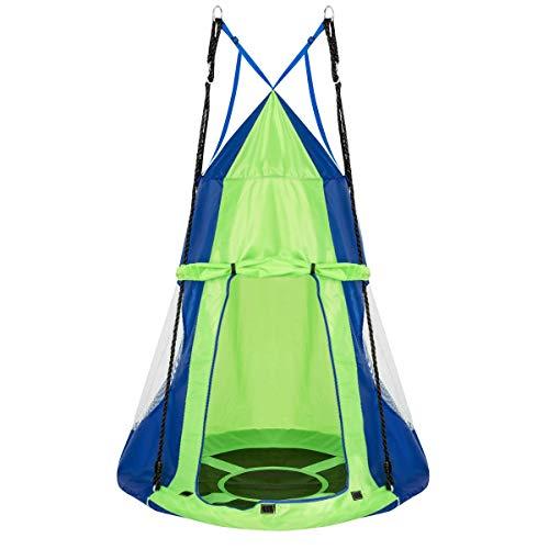 Ø 100cm Nestschaukel mit Zelt, Gartenschaukel bis 150kg belastbar, Kinderschaukel mit Tür und Fenster, Tellerschaukel für Indoor und Outdoor, inkl. höhenverstellbarem hängendem Se.