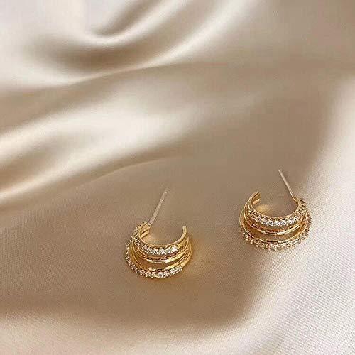 Pendientes Mujer Pendientes De Aro con Diamantes De Imitación, Pendientes Elegantes De Moda con Círculo Muilt, Joyería para Mujer, Accesorios Llamativos A La Moda