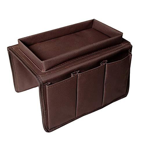 Sofa Armlehne Organizer mit Tablett, AOLVO Couch Stuhl Tisch Schrank Stauraum SAVER Fernbedienung Halterung passend für für Handy Book Zeitschriften 6 Pocket Coffee