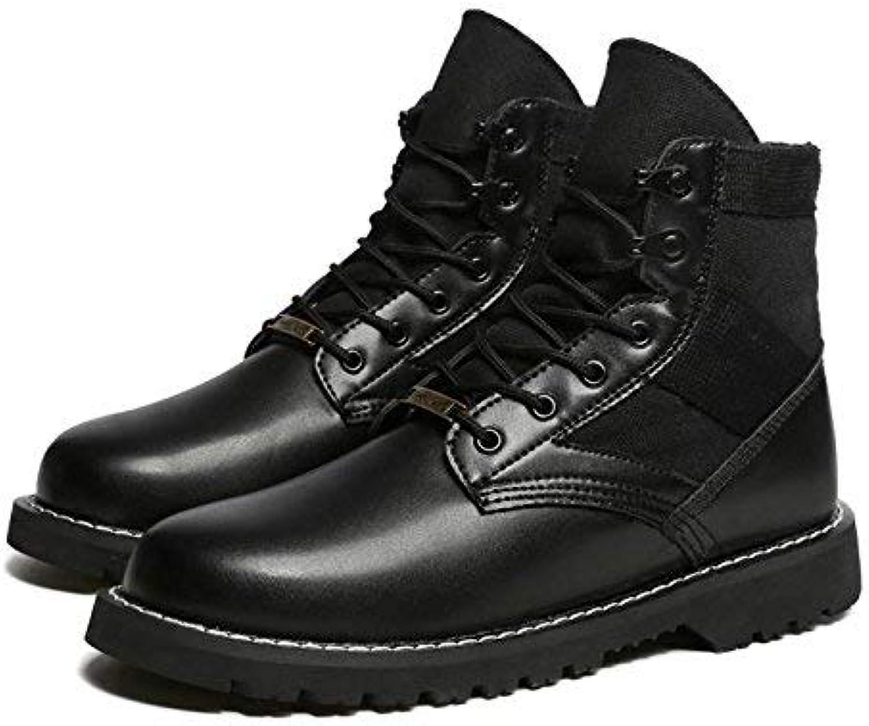 Fuxitoggo Herren schwarz Stiefel Stil Vintage-Leder (Farbe   36, Gre   Schwarz)