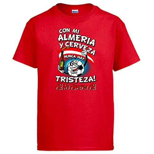 Diver Bebé Camiseta Frase con mi Almería y Cerveza Nunca Hay Tristeza para Aficionado al fútbol - Rojo, M