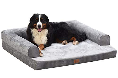 AcornPets® B-1412 Ultimate Extra Large Grey 10 CM Solid Memory Foam Dog Sofa Bed Fleece 110 x 95 CM For Large Dogs, Premium Corduroy and Smooth Velveteen Fabric, Detachable and Washable