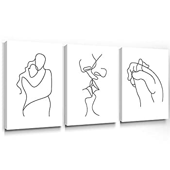 Gronda Wall Art for Bedroom Minimalist Black and White Canvas Paintings Home Decor Framed Lovers Prints Artwork Pictures for Living Room Ready to Hang 12x16 inch 3 Panels